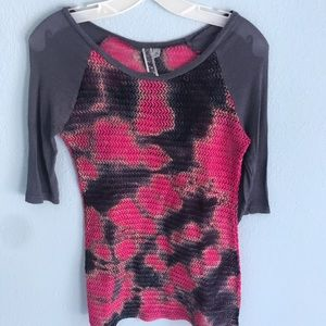 BKE pink & black weaved fabric shirt